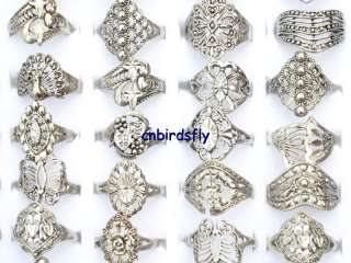 wholesale jewelry mixed lots 30pcs tibet silver rings vintage type
