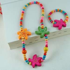 WHOLESALE 5 SETS KID CUTE WOOD NECKLACE&BANGLE PARTY 06
