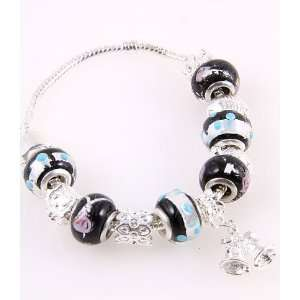 Fashion Jewelry Desinger Murano Glass Bead Bracelet with Pattern Black