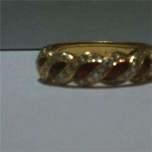 18k GOLD HIDALGO RED ENAMEL DIAMOND RING BAND