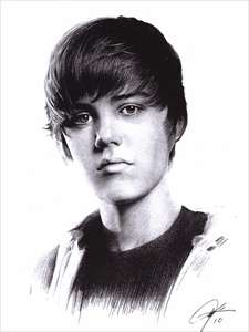 Justin Bieber Sketch Portrait Charcoal Drawing WU268