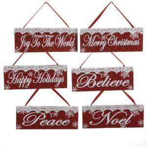 Club Pack of 12 Wooden Red & White Sentiment Plaque Sign Christmas