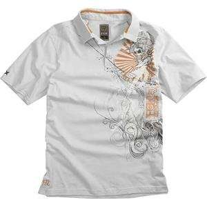Fox Racing Inked Polo   Small/Light Grey Automotive