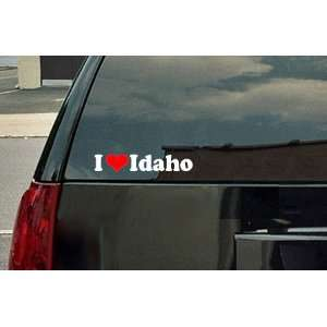 I Love Idaho Vinyl Decal   White with a red heart