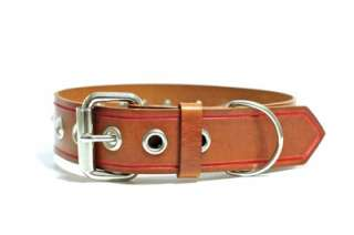 Brown/Red Leather Dog Collar and Leash/Lead Set Crystal Studded Police