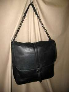 LANVIN Black Large Leather Messenger Bag Tote   RARE