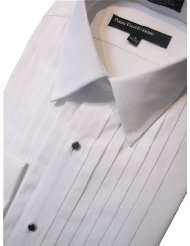 100% Cotton Laydown Collar Tuxedo Shirt 1/2 Pleat From Perry Ellis