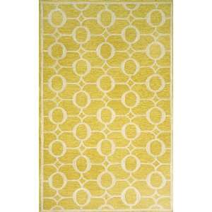 Indoor/Outdoor Hand Tufted Area Rug Arabesque 8 Square Yellow Carpet