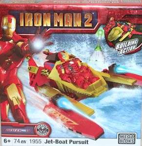 MEGA BLOKS IRON MAN 2 #1955 JET BOAT PURSUIT NEW 065541019553