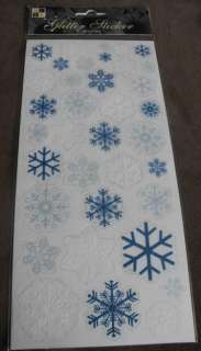 DCWV Glitter Christmas Snowflake Stickers, Blue & White T39D