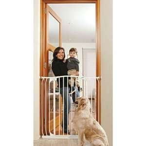 White Extra Tall Hallway Pet Gate in White