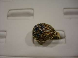 VINTAGE HEIRLOOM 14 KARAT YELLOW GOLD SAPPHIRE & DIAMOND COCKTAIL RING