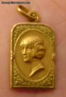 Antique 18k Gold Art Deco Ladys Portrait Pendant