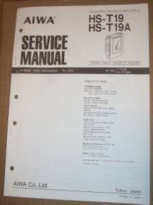 AIWA Service Manual~HS T19/T19A Radio Cassette Player