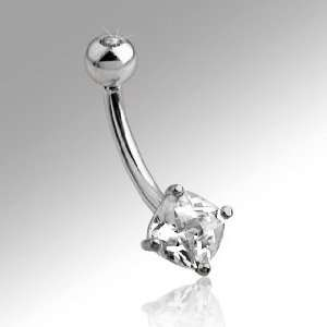 14K White Gold 7mm Square Cubic Zirconia Stud Belly Ring with Top Gem