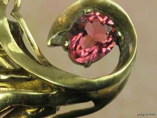 EISENBERG STERLING SILVER & HOT PINK RHINESTONE FAN BROOCH PIN