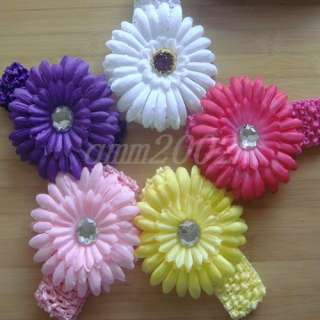 Baby Toddler Girl Knit Crochet Headbands Daisy Flower Hair Clips Bows