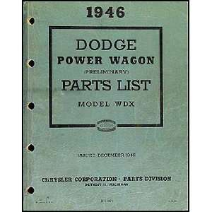 1946 Dodge Power Wagon Preliminary Parts Book Original Dodge Books