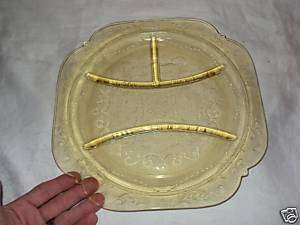 ANTIQUE YELLOW Depression Glass DIVIDED serving PLATE