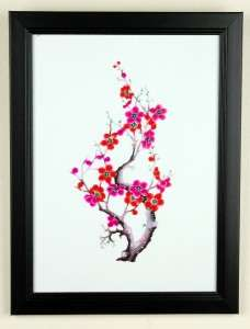 FRAMED PAPER CUT CHERRY BLOSSOM Wall Art Chinese Sakura
