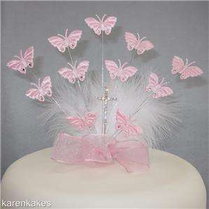 CHRISTENING/HOLY COMMUNION BUTTERFLY CAKE TOPPER WITH DIAMANTE CROSS