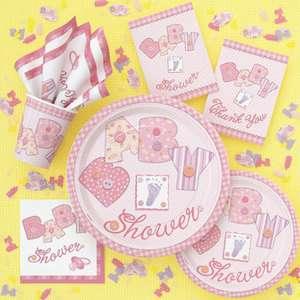 Baby Shower Pink Stiching Party Tableware Baby Girl All Items Under