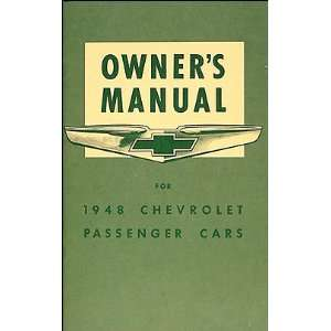 1948 Chevrolet Car Reprint Owners Manual 48 Chevy Chevrolet Books