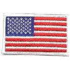 US American Flag 3 3/8 X 2 Silver & Black Patch