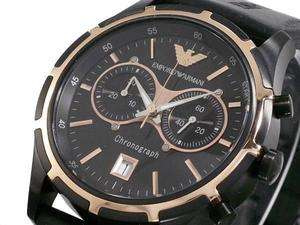 MENS BRAND NEW EMPORIO ARMANI BLACK CHRONOGRAPH WATCH AR0584