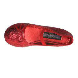 Pleaser Girls Red Glitter Bow tie Ballet Flats