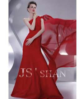 JSSHAN Red One shoulder Ball Evening Gown Prom Dress