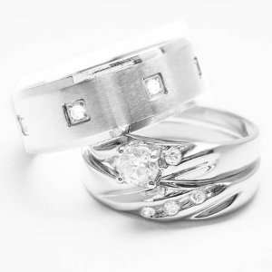 STAINLESS STEEL Engagement Wedding Ring Set (Size Mens 10 Womens 9
