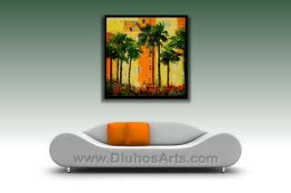 MODERN MIAMI BEACH ART DECO FLORIDA Knife ORIGINAL ART Oil Painting