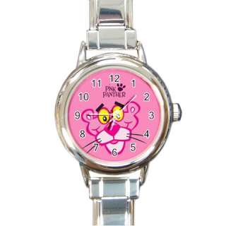 New* HOT PINK PANTHER Round Italian Charm Watch