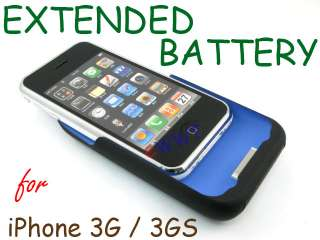 1800mAh * Black Battery Charger Holder Hard Cover Case for iPhone 3G