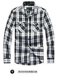 NWT Fashion Mens Casual Slim Fit Luxury Plaid Check Dress Shirts 7