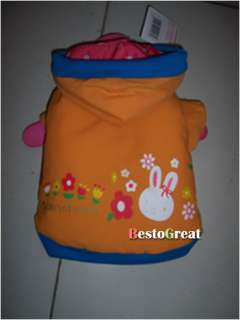 Pet Dog Puppy apparel cloth Coat Orange Rabbit PA17
