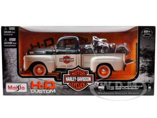 scale diecast car model of 1948 Ford F 1 Pickup Truck Harley Davidson