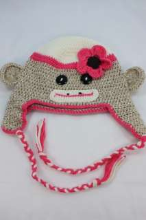 NEW PINK BABY SOCK MONKEY KNIT CROCHET HAT HANDMADE S