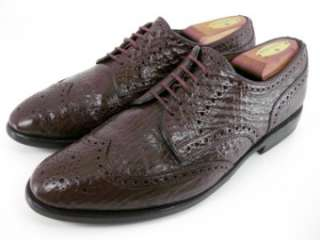 Allen Edmonds CONCORD Brown Shark Skin Wingtip Dress Oxfords 8.5 C