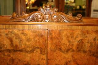 Exquisite English Queen Anne Burl Wood Walnut Bar/Cabinet