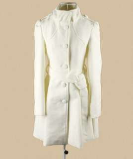 Womens Single breasted Button Outerwear Mid length Trench Coat Jacket