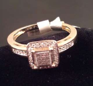 Ladies 10K Solid Yellow Gold Diamond Princess Cut Ring