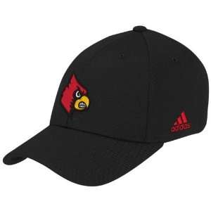 adidas Louisville Cardinals Black Basic Logo Flex Fit Hat (Small