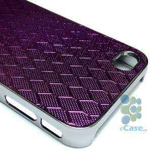 PURPLE Honeycomb Design Pattern Silver Chrome Hard Snap Case Cover