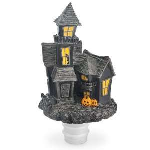 Haunted House Hand Painted Poly Resin Bottle Stopper w/ Ridged Rubber
