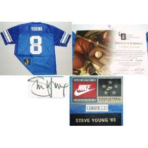 Steve Young BYU Cougars Autographed Throwback Blue Jersey