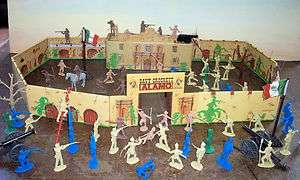 the Alamo playset by Marx and Classic Toy Soldiers, tin litho fort