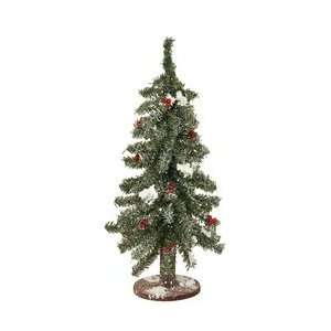 Pine Red Berry Wood Base Fake Christmas Tree Arts, Crafts & Sewing