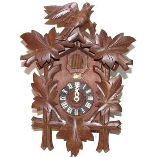 vtg Schatz & Sohne 8 Day Black Forest Cuckoo Clock Germany Wall Carved